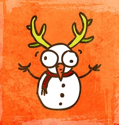 Snowman with antlers cartoon vector