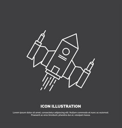 spacecraft spaceship ship space alien icon line vector image