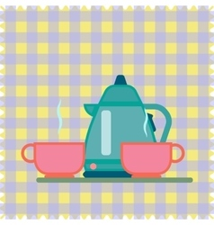 Teapot and Cup on a napkin vector