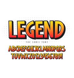 the legend 3d comical font design colorful vector image