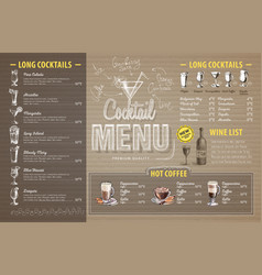vintage cocktail menu design on cardboard vector image