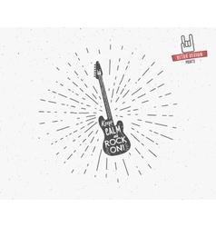 Vintage guitar label with sunburst vector