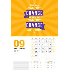 wall calendar template for september 2019 design vector image