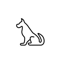 web line icon silhouette of the dog vector image
