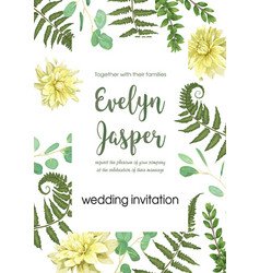 Wedding invite invitation card floral greenery vector