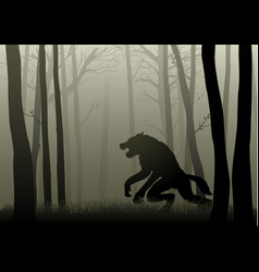 Werewolf in the dark woods vector