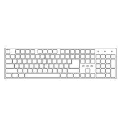 White laptop computer keyboard vector