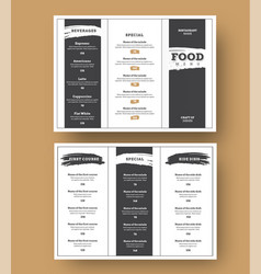 white menu template with black grunge elements vector image