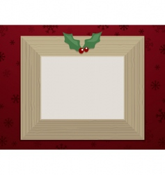 wooden christmas picture frame vector image
