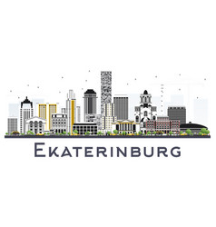 Yekaterinburg russia city skyline with color vector