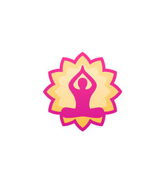 yoga logo man in lotus pose and flower vector image