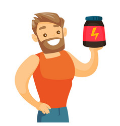 Young caucasian white man with protein jar vector