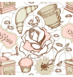 coffee and cakes seamless pattern vector image vector image