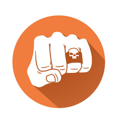 fist with skull ring symbol vector image vector image