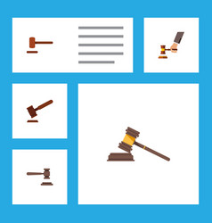 flat icon hammer set of court justice crime and vector image vector image