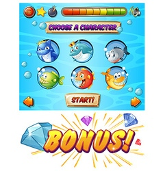 Game template with fish and shark characters vector image vector image