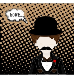 man in hat and retro scratch background vector image vector image
