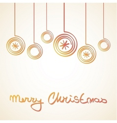 Merry Christmas Card with doodle balls vector image vector image