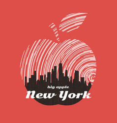 new york big apple t-shirt graphic design with vector image vector image