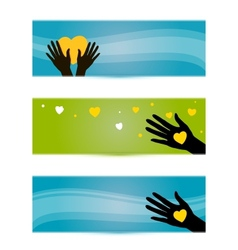 banners templates with hands and hearts vector image