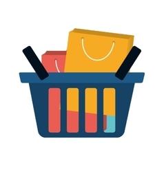 Basket shopping many bag gift vector