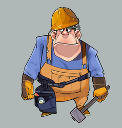 cartoon big man in helmet and working clothes vector image vector image