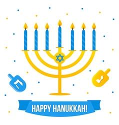 Hanukkah card with menorah and dreidel vector image