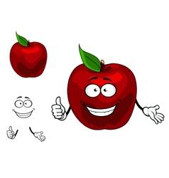 Happy red cartoon apple fruit vector image