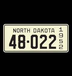 North dakota 1952 license plate vector