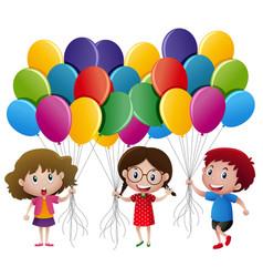 three kids holding balloons vector image