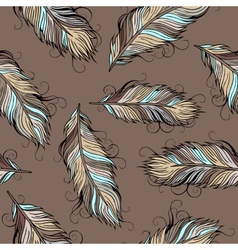 Vintage ethnic feathers seamless pattern vector
