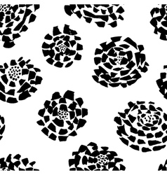 Ink seamless pattern with flowers in sketchy style vector image vector image