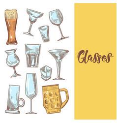 set of different drink beverage glasses stemware vector image