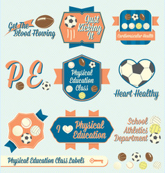 Vintage Physical Education Class Labels and Icons vector image