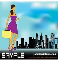 big city shopping vector image