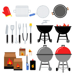 flat set for bbq party different vector image