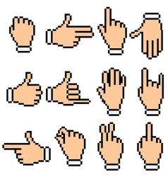 Hand signs pixel pictograms vector