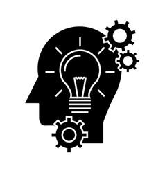 head with lamp idea generation icon vector image vector image