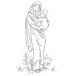 mother mary and child jesus coloring page vector image vector image