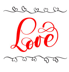 red calligraphy lettering word love happy vector image vector image