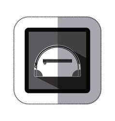 sticker monochrome square with make up bag vector image