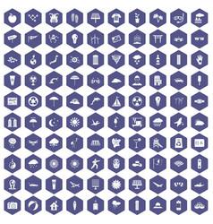 100 sun icons hexagon purple vector