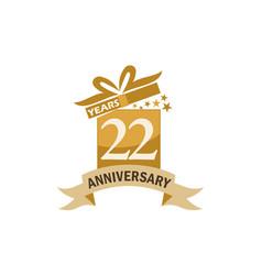 22 years gift box ribbon anniversary vector