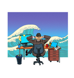 A businessman in office dreams sea vector