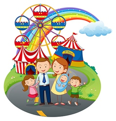 A happy family going to the amusement park vector image