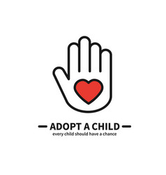 Adopt a child hand with heart line icon vector