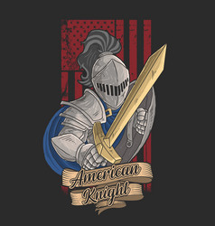 american knight with a golden sword vector image