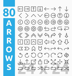 Arrow outline icons for user interface and web vector image