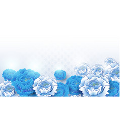 asian traditional blue and white floral background vector image
