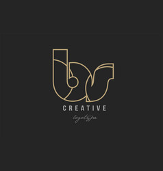 Black and yellow gold alphabet letter bs b s logo vector